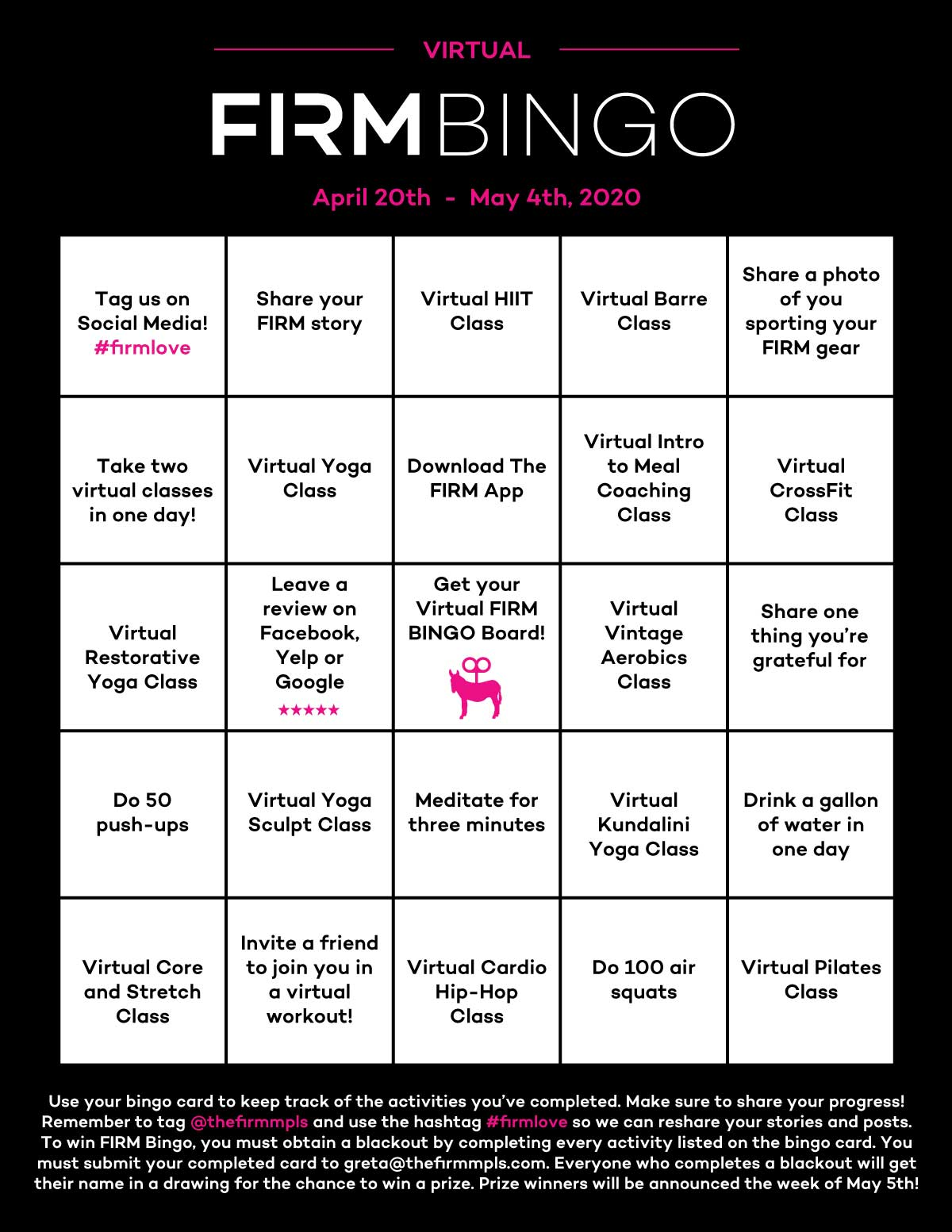The FIRM Virtual Bingo Board